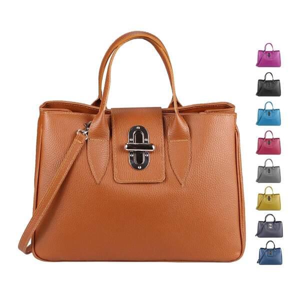 e6f6760220946 OBC Made in Italy Damen Echt Leder Tasche Business Shopper Aktentasche Schultertasche  Handtasche Ledertasche Kroko- ...