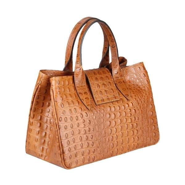 3bd04073e5ccf ... OBC Made in Italy Damen Echt Leder Tasche Kroko-Prägung Business  Shopper Aktentasche Schultertasche Handtasche ...