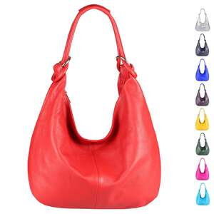 699df3f0f0fac ITALY DAMEN Echt LEDER HAND-TASCHE Schultertasche Shopper Umhängetasche Beuteltasche  Metallic Bag
