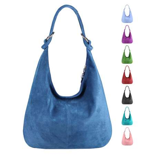 c39584a94fdb0d Made in Italy Damen XXL Ledertasche Wildleder Shopper Tasche Schultertasche  Umhängetasche Hobo-Bag Beuteltasche ...