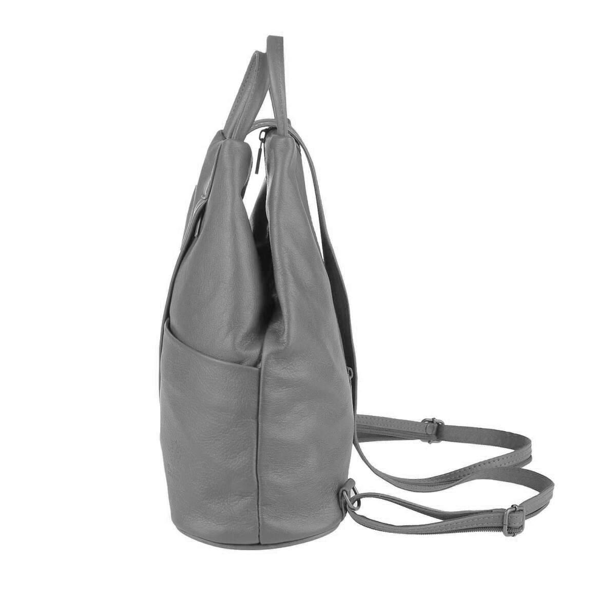 obc damen echt leder rucksack schultertasche grau schwarz 69 95. Black Bedroom Furniture Sets. Home Design Ideas