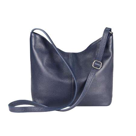 OBC Made in Italy Damen Leder Tasche Shopper Crossbody Umhängetasche Cross-Over City Bag Vera Pelle Schultertasche Hobo-Bag Dunkelblau