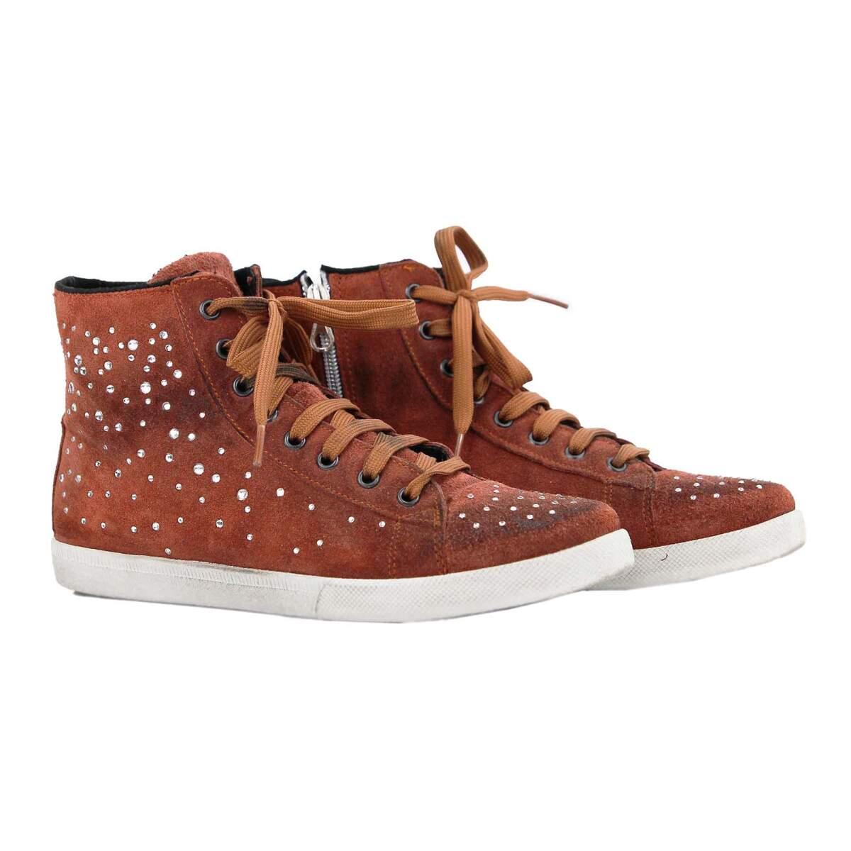 Ovye By Cristina Lucchi Echt Strasssteine Leder Sneaker Schuhe Damen edorCWxB