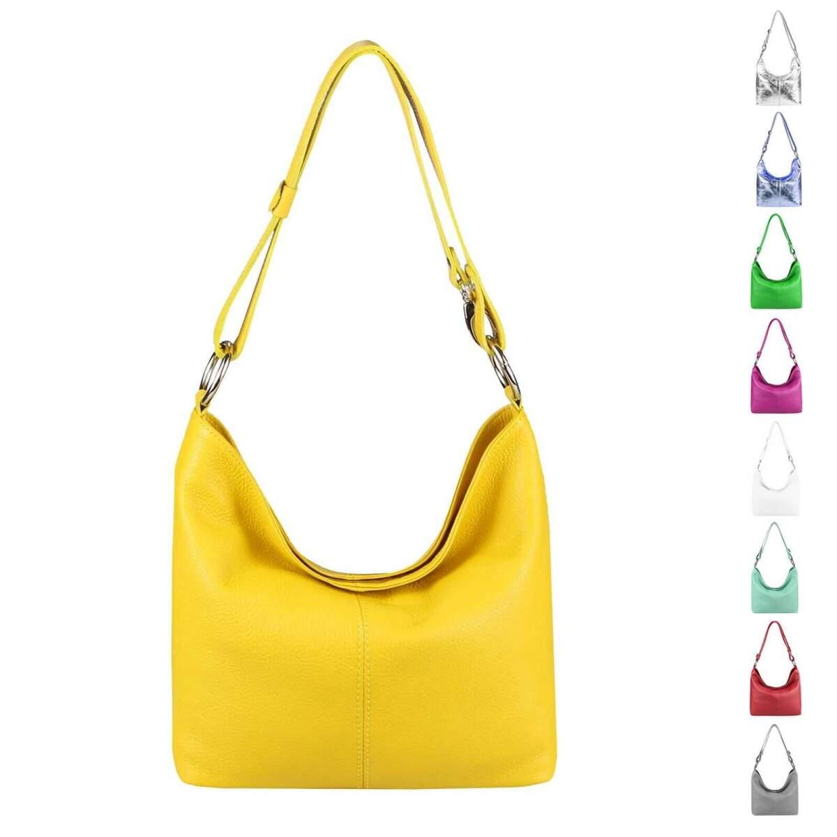 e10ec7d423d8d Made in Italy echt Leder Metallic Damen Tasche Shopper Hobo-Bags  Schultertasche Umhängetasche Handtasche Ledertasche Silber