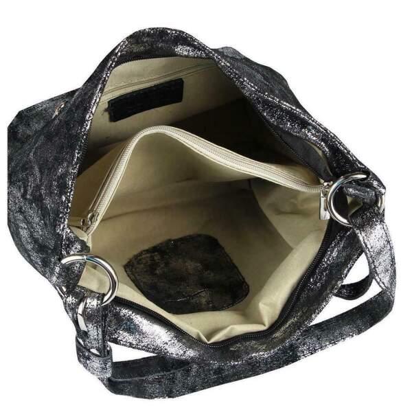 d0b70e37657b0 ... Made in Italy echt Leder Metallic Damen Tasche Shopper Hobo-Bags  Schultertasche Umhängetasche Handtasche Ledertasche ...