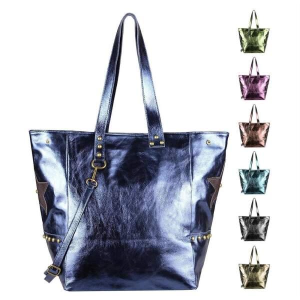 aa853b3c4301b ITAL DAMEN Echt LEDER TASCHE Tote Bag Metallic Schultertasche DIN-A4 Shopper  Handtasche Umhängetasche Crossbody ...