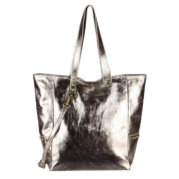 3d86af071672e ... ITAL DAMEN Echt LEDER TASCHE Tote Bag Metallic Schultertasche DIN-A4 Shopper  Handtasche Umhängetasche Crossbody ...