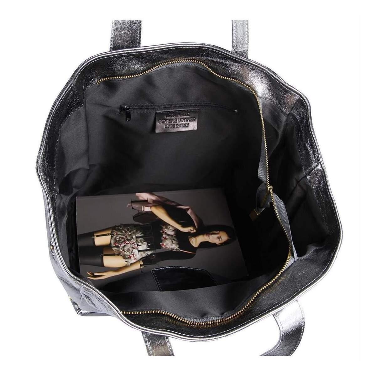 damen echt leder tasche tote bag metallic schultertasche. Black Bedroom Furniture Sets. Home Design Ideas