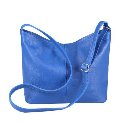 OBC Made in Italy Damen Leder Tasche Shopper Crossbody Umhängetasche Cross-Over City Bag Vera Pelle Schultertasche Hobo-Bag Blau