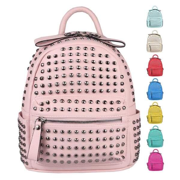 4707471a77aea DAMEN NIETEN RUCKSACK TASCHE Cityrucksack Stadtrucksack Metallic Backpack  Schultertasche Handtasche Umhängetasche Shopper Daypack ...