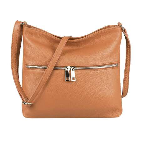 DAMEN LEDER TASCHE Cross Body Schultertasche City Bag CrossOver Umhängetasche Henkeltasche Clutch Ledertasche Damentasche Cognac