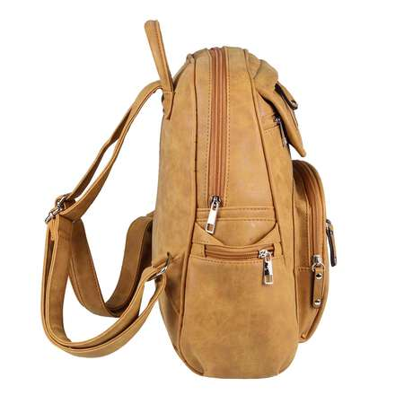 DAMEN City-RUCKSACK BACKPACK Daypack Schulter-Hand-tasche Tablet Leder optik Cognac