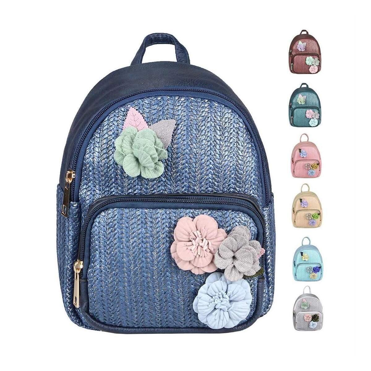 9c247597485925 ital-design DAMEN BLUMEN MINI-RUCKSACK Backpack Tasche Daypack Cityrucksack  Leder Optik Schultertasche Flechtoptik ...