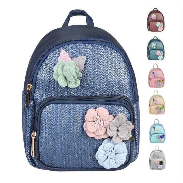 04a00207beb8c ital-design DAMEN BLUMEN MINI-RUCKSACK Backpack Tasche Daypack Cityrucksack  Leder Optik Schultertasche Flechtoptik ...