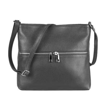 ITAL DAMEN LEDER TASCHE Cross Body Schultertasche City Bag CrossOver Umhängetasche Henkeltasche Clutch Ledertasche Damentasche Grau