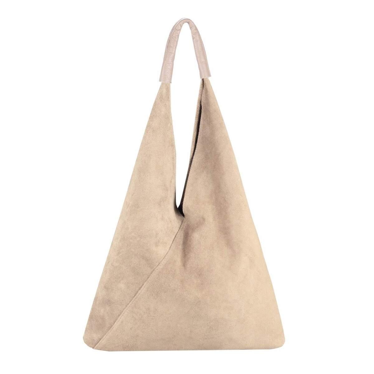 OBC Made in Italy Damen XXL Leder Tasche Handtasche Wildleder Shopper DB.S7137