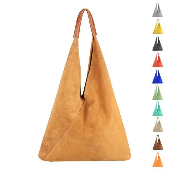44c231e3cac695 OBC Made in Italy Damen XXL Leder Tasche Handtasche Wildleder Shopper  Schultertasche Hobo-Bag Umhängetasche ...
