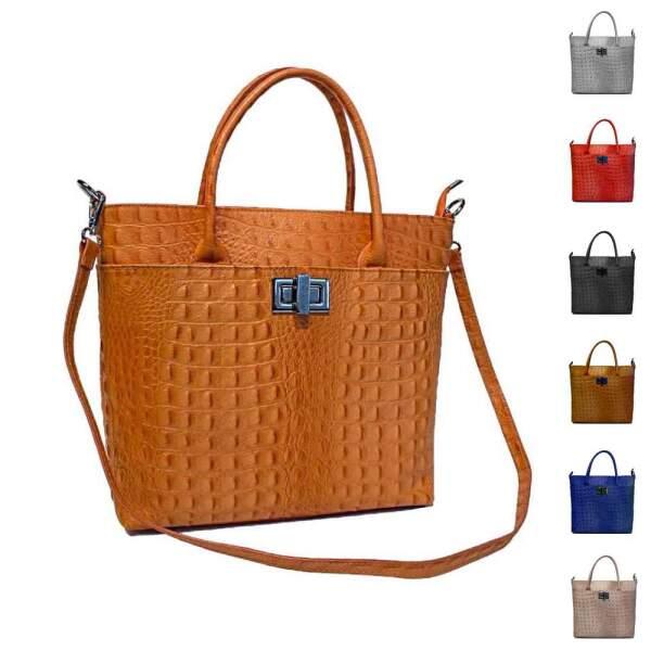 b8c9753f0cdd0 OBC Made in Italy Damen Leder Tasche Businesstasche Handtasche Henkeltasche  Umhängetasche Shopper Schultertasche Arbeitstasche Workbag Kroko ...