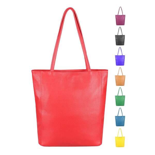 128a1c9d0e99e OBC Made in Italy Damen Echt Leder Tasche Shopper Schultertasche  Henkeltasche Din-A4 Tote Bag ...