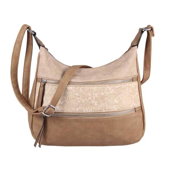 DAMEN TASCHE BLUMEN Shopper Handtasche Schultertasche Leder Optik Hobo Crossbody