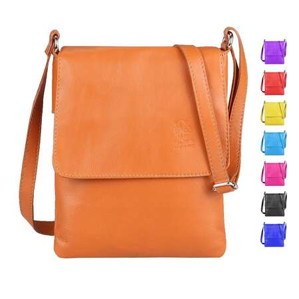 ITALYSHOP24.COM Damen Leder Messenger Bag Schultertasche