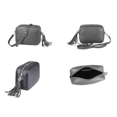 OBC Made in Italy DAMEN LEDER TASCHE Umhängetasche Schultertasche Beuteltasche Cross-Over Crossbody Bag Glattleder Schmucktasche Fransen Ledertasche  Bordo