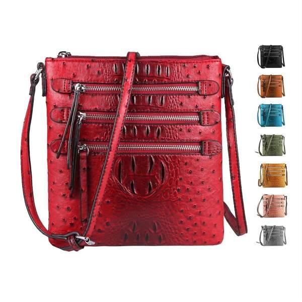Damen Taschen & Geldbörsen Umhängetasche in Kroko Optik mit